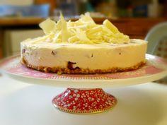 White Chocolate Raspberry #Cheesecake. No Bake, No Gelatin. #Dessert #foodblog