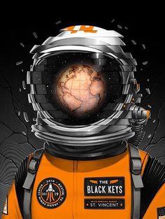 Concert Poster for The Black Keys by Mike Mitchell Rock Posters, Band Posters, Concert Posters, Gig Poster, Music Posters, Retro Posters, Mike Mitchell, Astronaut Wallpaper, Keys Art
