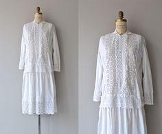 Lyrische Jahr Kleid | 1920er Jahre Kleid | Baumwolle Öse 20er Jahre Kleid