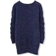 Chicwish Candy Dots Cable knit Sweater in Navy Blue ($40) ❤ liked on Polyvore featuring tops, sweaters, cable knit sweater, cable sweater, cable knit pullover sweater, navy cable knit sweater and navy blue sweater