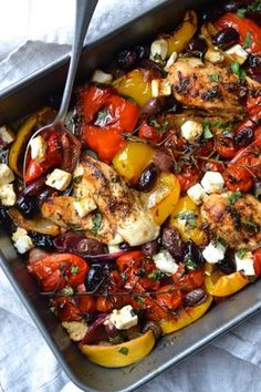 Greek Chicken Traybake - My list of the most healthy food recipes Clean Eating, Healthy Eating, Healthy Food, Healthy Cooking, Healthy Meals, Easy Meals, Cooking Recipes, Healthy Recipes, Cooking Bacon