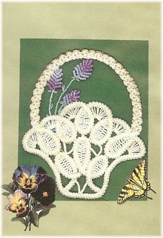 Victorian Lavender Basket in Romanian Point Lace by Sylvia`s Flowers & Lace