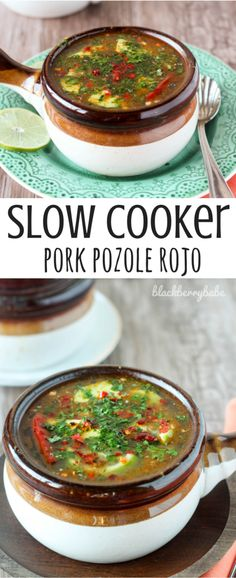 I LOVE this Slow Cooker Pork Pozole! Pork, hominy and broth simmer with spices in the slow cooker. YUM!