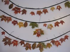 Create a garland of gratefulness with fall leaves.