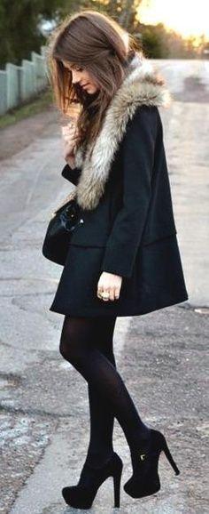 #Winter #Outfits / Shearling Coat + Black Heels