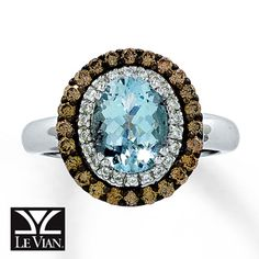 Le Vian® 14K White Gold Diamond & Aquamarine Ring