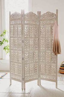 "Boho. Use shutters or 72"" tall filigree screen/room divider to build a .75"" closet storage wall and tv hutch alcove."