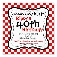 Red Black Checkered 40th Birthday Party Invitation