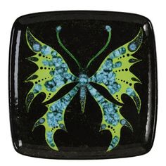 Spread your creative wings with a plate that's too cool to keep in the cabinet! Use a combination of regular glaze and specialty glazes!