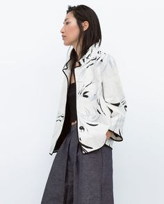 PRINTED BLAZER WITH CONTRAST PIPING - View all - Jackets - WOMAN   ZARA Philippines
