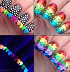 Glitter placement nail art, including with neon heart studs