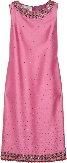 VALENTINO Appliquéd Silk-twill Dress   The House of Beccaria#