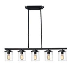 lnc industrial pendant lights 5light kitchen island lights with black finish clear