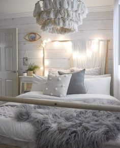 A soft Realistic Timber Wallpaper Design that leaves the room dripping in character! This beautiful Boho Teen Girls Bedroom looks absolutely dreamy! Teen Bedroom Designs, Room Ideas Bedroom, Boho Teen Bedroom, Girls Bedroom Decorating, Rustic Girls Bedroom, Girls Bedroom Chandelier, Girls Fairy Bedroom, Ladies Bedroom, Bedroom Art