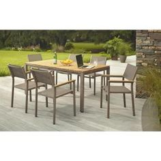 Hampton Bay, Barnsdale Teak 7-Piece Patio Dining Set, Set T1840 + C2011 at The Home Depot - Mobile