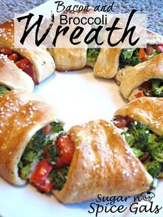 Holiday Crescent Wreaths: Bacon+Broccoli or Chicken+Cheese
