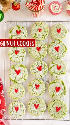 Christmas Deserts, Christmas Goodies, Holiday Desserts, Holiday Baking, Christmas Candy, Holiday Treats, Holiday Cookie Recipes, Grinch Cookies, Holiday Cookies