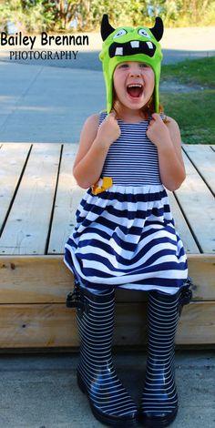 My little striped monster girl ~ rain boots ~ hat