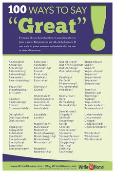 "100 Ways to Say ""Great!"" Poster – WriteAtHome Posters"