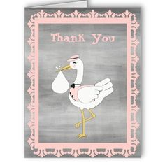 Baby Shower Thank You Card for Baby Girl Stork