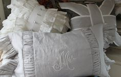 This was a set of 3 pillows going to a client in Washington, DC. After sending her some swatches of the linen colors, we chose a palette of light gray, dark gray, and soft white. These are probably my 3 best selling designs. Love that they went to the same person to enjoy.  Contact me at mrslemon@sbcglobal.net if you'd like something similar for your home.