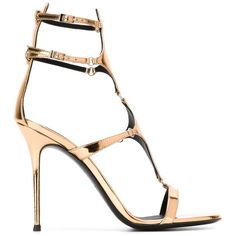 Giuseppe Zanotti Design Strappy Sandals (€735) ❤ liked on Polyvore featuring shoes, sandals, metallic, strappy sandals, giuseppe zanotti sandals, patent leather sandals, stilettos shoes and stiletto sandals
