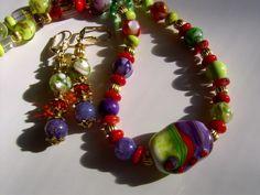 Kette,grün,lila,Lampwork von kunstpause auf DaWanda.com