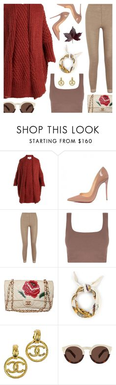 """""""Untitled #6248"""" by amberelb ❤ liked on Polyvore featuring I Love Mr. Mittens, Christian Louboutin, Hanro, Hermès, Chanel and Illesteva"""