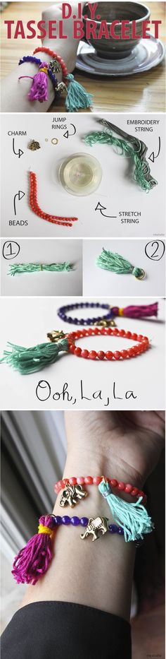 DIY Tassle to be added to already made bracelets with jump rings