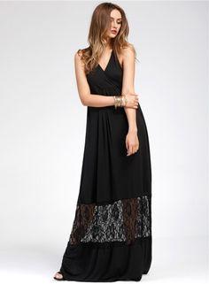 V Neck Sleeveless Lace Panel Maxi Dress