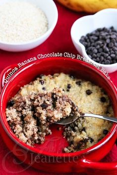 Quinoa Banana Chocolate Chip Breakfast Bake [ 4LifeCenter.com ] #food #life #health