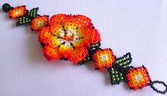 Mexican Huichol Beaded flower bracelet by Aramara on Etsy, $20.00