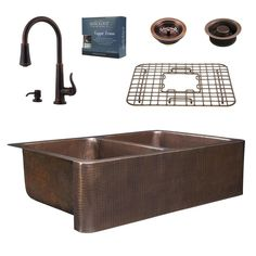 Pfister All-in-One 33 in. Rockwell Copper Farmhouse Kitchen Sink 3-Hole with Faucet in Rustic Bronze, Antique Copper