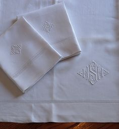 Antique Irish Linen Monogrammed Sheet Set