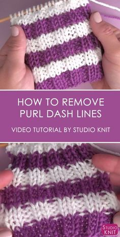 2X2 RIB STITCH How to Remove Purl Dash Lines in Knitting with Studio Knit