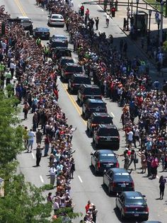 The funeral procession for Muhammad Ali heads east