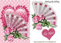 LACE FAN WITH PINK ROSES ON A FRILLY HEART on Craftsuprint - Add To Basket!