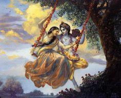 krishna   Krishna y Su arte - Radha y Krishna en el columpio
