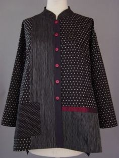 Black Shirt with Ikat Dots and Stitched Wavy Lines