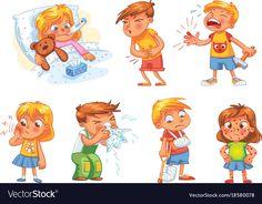 Children get sick. Child has high temperature. Boy hit with hammer on finger. Funny Cartoon Characters, Cartoon Kids, Funny Cartoons, Senses Preschool, Baby Tea, Sick Kids, Cute Disney Wallpaper, Character Development, Character Illustration