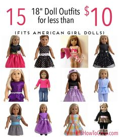 "15 18"" Doll Outfits for less than $10 each! Only on TheHowToCrew.com"