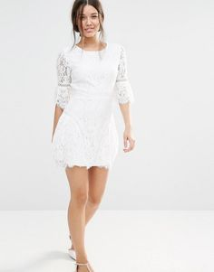 Missguided | Missguided Lace Detail A-line Dress at ASOS