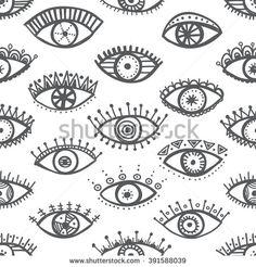 Hand drawn indian ethnic tribal eyes fashion black and white trendy seamless pattern. Can be printed and used as wrapping paper, wallpaper, textile, fabric etc. Blackwork, Evil Eye Art, Mystic Symbols, Pyramid Eye, Indian Eyes, Tatto Love, Eye Illustration, Eye Cream For Dark Circles, Posca Art
