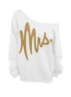 Mrs   White with Gold Slouchy Oversized Sweatshirt by DentzDesign, $29.00