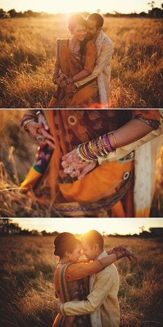 Indian doesn't have to mean red. Look at this beautiful burnt orange and purple bridal attire