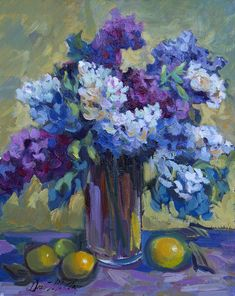 Still Life Painting - Lemons And Lilacs by Diane McClary Paintings For Sale, Original Paintings, Lemon Painting, Still Life Flowers, Lake Art, Thing 1, Still Life Art, Abstract Flowers, Flower Art