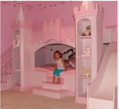 Castle bed (princess pink) - imagine this in dark grey with dragons... kids bed with slide for Arthurs room! http://www.facebook.com/pages/MNS-Joinery-Ltd/544292718918168?ref=stream