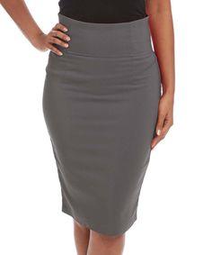 Charcoal Button Pencil Skirt - Women by Avital #zulily #zulilyfinds