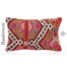 "Colorful Bohemian Lumbar Pillow Throw 12x20"" Hand Woven Decorative Kilim Rug Pillowcase Interior Decorator Embroidered Boho Chic Cushion Cover"