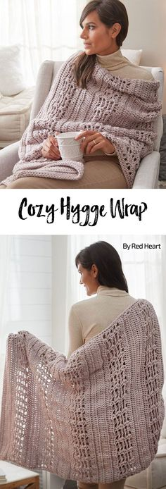 Cozy Hygge Wrap free crochet pattern in Soft Essentials.